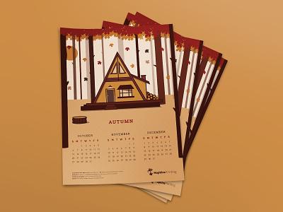 Hopkins Printing Fall 2019 Calendar Design forest leaves woods cabin hopkins printing calendar illustration autumn