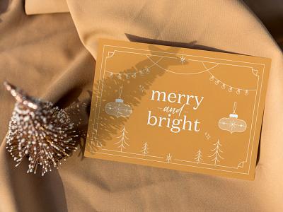Merry & Bright Christmas Card christmascard card holidays monoline minimalistic illustration bright merry