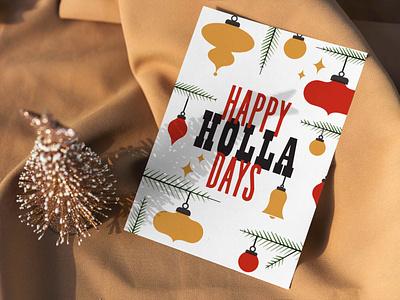 Holla Days Seasonal Card letterpress seasonal holiday ornaments christmas card card