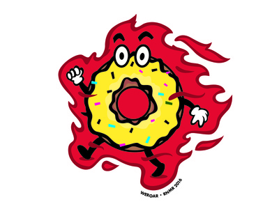 Flaming Doughnut for sale doughnut photoshop illustrator