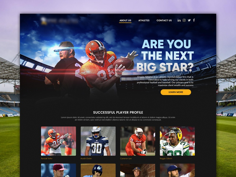 Sports Agency Website Concept website interface sports agency
