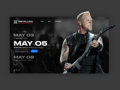 Metallica's Worldwired Tour concept james hetfield tallica metallica website madewithsketch sketch photoshop graphic design interface webdesign ui web design