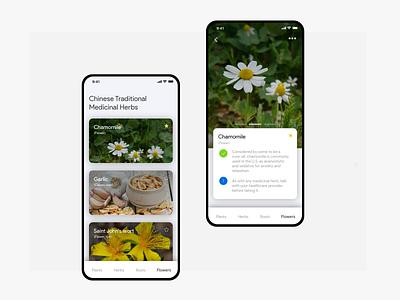 Medicinal herbs directory app photoshop sketch concept mobile app design interface