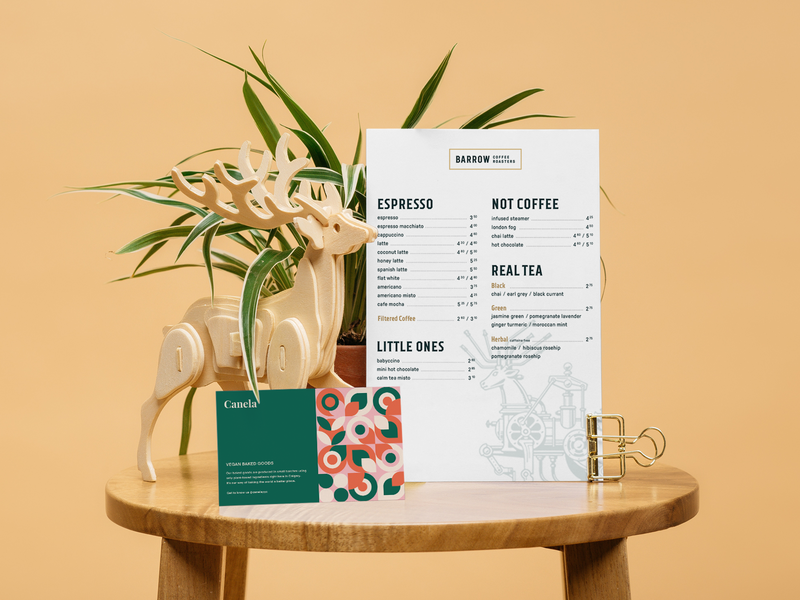 Barrow Coffee Roasters Menu menu card typogaphy illustraion identity design branding