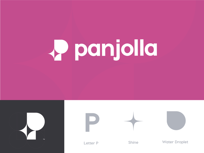 Panjolla geometrical purple smart washing shine cleaning clean negative space letter p logotype typography branding vector simple identity creative brand minimal logo design