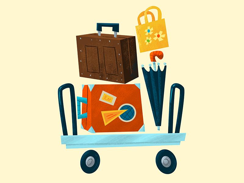 Luggage cart suitcase bag trolley umbrella