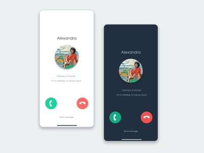 Call screen mockup minimalist design and dark mode