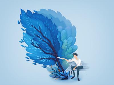 Blue waiting wind blue tree boy illustration