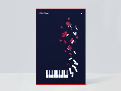 Für Elise navy blue red illustration poster therese rose piano fürelise
