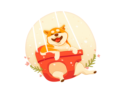 Year of the Dog park yellow red swing new year animal akita dog