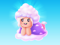 cloud girl illustrator vector kawaii sky girl cloud
