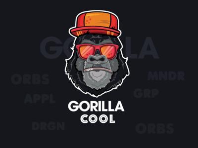 Gorilla Coll Logo logo vector label illustration gorilla fruit