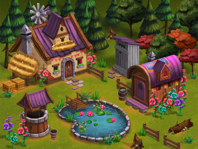 Gypsy House concept forest location objects house game