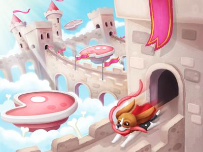 sausage thief illustration charactr meat sky sausage castles art beagle dog