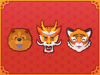 Chinese New Year chao chao dog tiger dragon vector new year chinese 2019