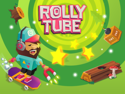Rolly tube game lowpoly skate star character promo vector game tube