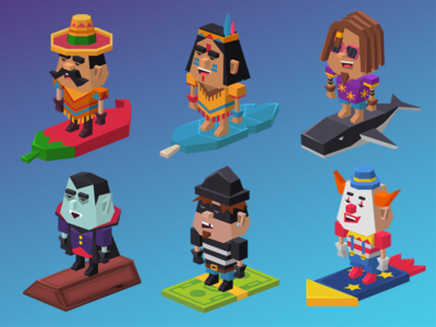 Rolly tube characters 1 clown thief mexican surfer indian vampire lowpoly game character