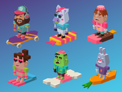 Rolly tube characters 2 skate banny icecreamman zombie pony lowpoly character game