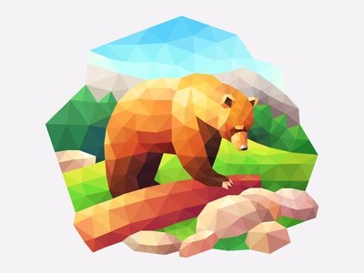 My poly Artbook bear playgendary bear illustration vector poly lowpoly