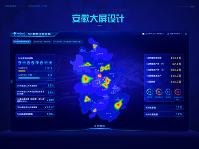 Visual large screen design blue science and technology ui data visualization