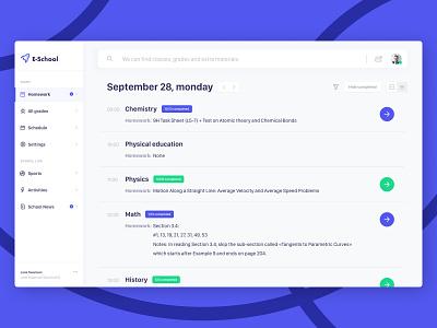 E-School app concept belarus nice online education school app callendar grades minsk desctop timetable diary list education table schedule gradient purple typography ui