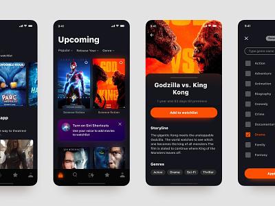 Upcoming App app concept typography minsk movie app app  design darkmode ui app filters listing movie list primiere film information movie card cinema movie