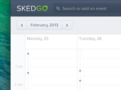 Skedgo Calendar calendar app search seachbar logo timeline web