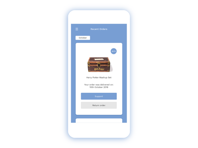 Order detail UI itinerary price application book harrypotter app flat page amazon order confirmation order fulfilment deliver order ux ui concept minimal