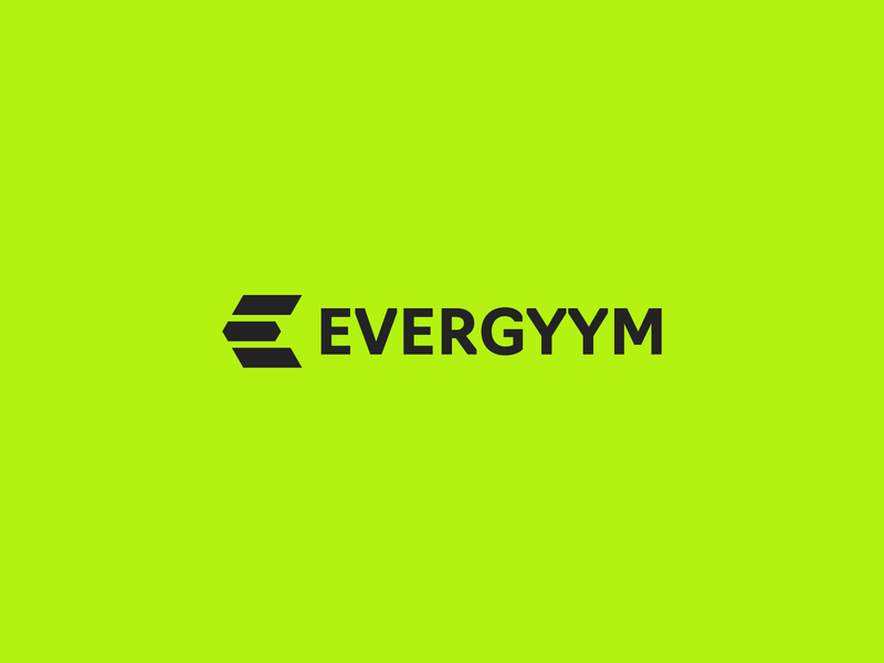 EVERGYYM fitness logo fit black green sport fitness app logo simple minimalism letter