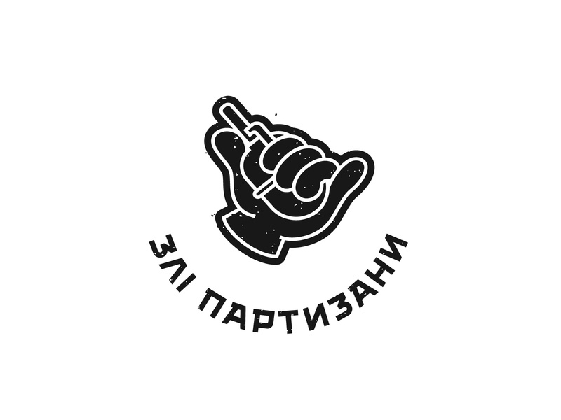 Angry Partisans military chevron airsoft typography design monochrome logo