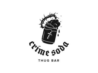 Crime Soda thorns crown cross thug soda can soda crime illustration monochrome logo