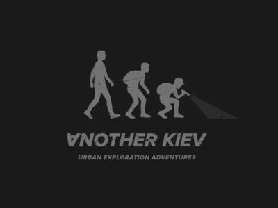 Another Kiev typography action underground evolution design branding kyiv urbex illustration monochrome logo