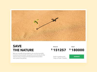 Crowdfunding - Daily UI challenge 032 charity ui challenge donate dailyui challenge crowdfunding ux ui minimal nature