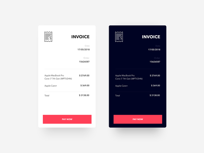 Invoice - Daily UI challenge 046 material design design minimal ui ux dark ui dailyui invoice bill app