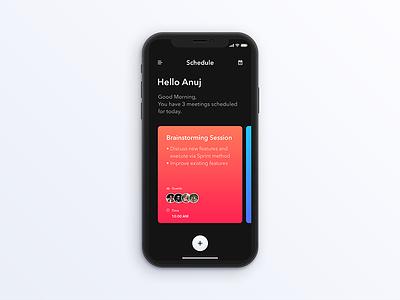 Schedule - Daily UI challenge 071 calender meeting button minimal gradient iphone ios trending dailyui schedule ux