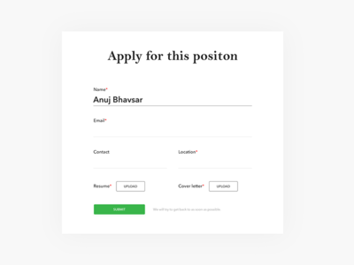 Form - Daily UI challenge 082