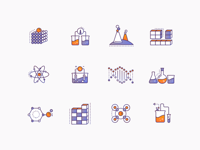 Chemistry Icons #1 brewex illustration education science illustration icons design gradient icon science chemistry icons set icons