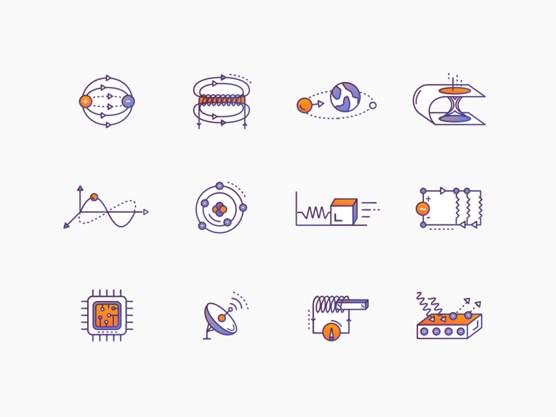 Physics Icons #1 science illustration science illustrations icon set icon design icons gradient icons education physics brewex