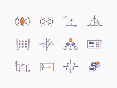Maths Icons #1 maths education gradient icon icons icon design illustrations iconography icon set science brewex