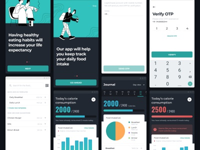 Food Intake Tracker Application typography trending minimal food app design android ux dark mode food illustrations gradients uiux ui graphs tracking