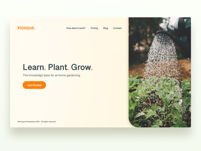 Daily UI | 003 - Landing Page UI branding uiux ui product design kiosque rounded corners plants gardening website web design design landing page daily ui 003 dailyui