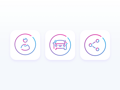 Lines and colors logo circle illustration visual identity gradient person id share vehicle car icon app