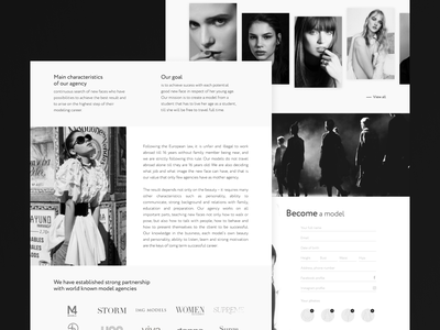 Model agency design concept website concept website design minimalistic minimalism black and white modeling models