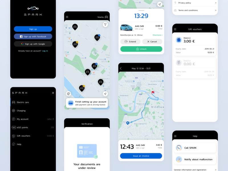 SPARK app redesign travel app car sharing electric car
