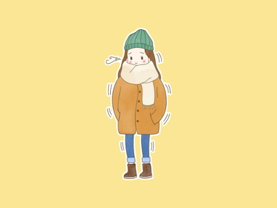 - the freezing girl winter cold hivency illustration