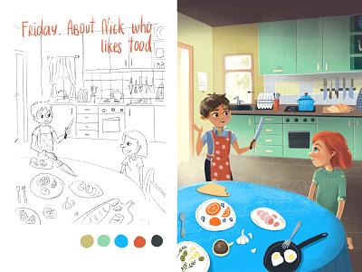 Nick and Ruta illustration kitchen children sketch procreate childrens illustration childrens book character design