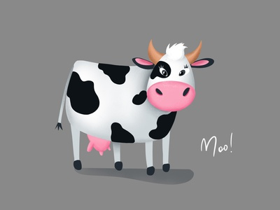 Cow says moo! character procreate cartoon cow character design illustration