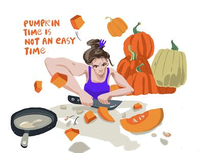 Pumpkin time girl character procreateapp people illustration cooking pumpkin people flat people character character design procreate illustration