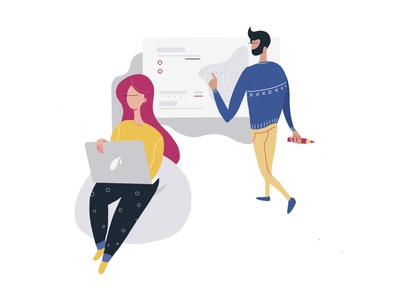 Office man and women work intensely vector office space work in progress workplace work illustrator woman man scene character design flat office illustration