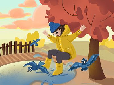 Golden autumn sunset rubber boots jump childrens book autumn boy illustration book illustration childrens illustration character procreate illustration